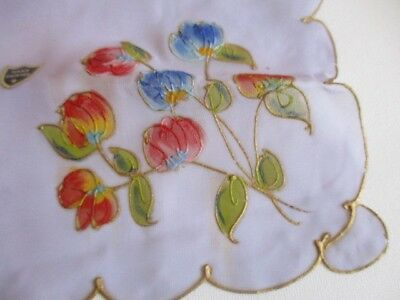 """New Hand Painted Multi-colour Floral Ladies Handkerchief with Gold Trim 10.5"""""""