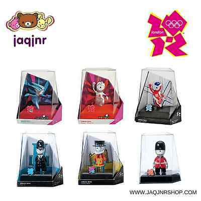 London 2012 Olympics - SET OF 6 MASCOTS IN DISPLAY CASES *Wenlock & Mandeville*