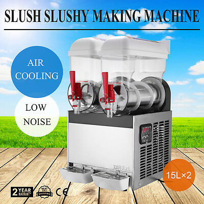 30L Commercial Twin Bowl 2 tank Slush Machine High Capacity 15L×2 Smoothie Maker