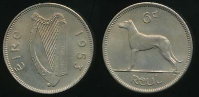 Ireland, Republic, 1953 Sixpence, 6d - Uncirculated