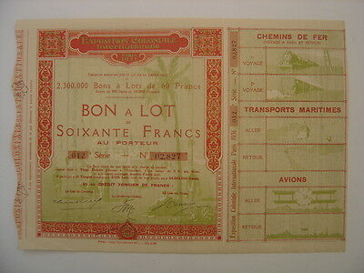 1931 Exposition Coloniale Internationale Paris ACTION BOND TITRE