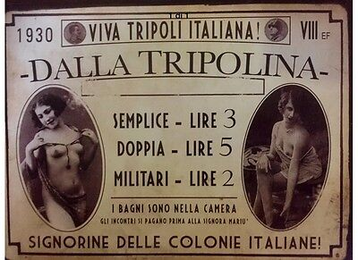 """metal plaque Italy Twenty-two fascists -""""from the Tripolia-casino with ladies."""