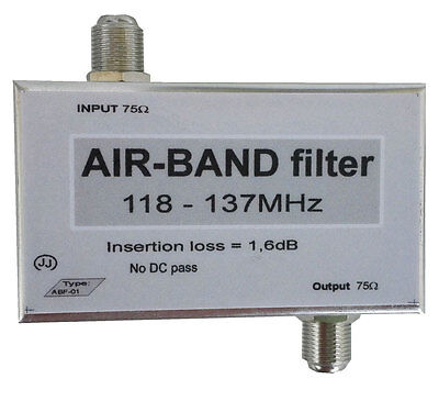 Air-Band filter, Band-pass filter 118-137MHz; Airband filter F connectors orSMA.