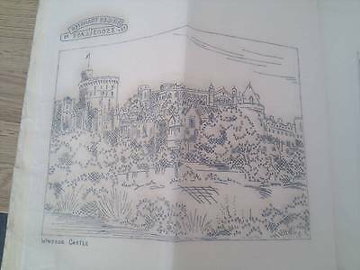 "Vintage Briggs ETCHINGS embroidery Transfer 12"" x 12"" - Windsor Castle"