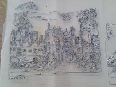 """Vintage Briggs ETCHINGS embroidery Transfer 12"""" x 12"""" - Hampton Court Palace"""