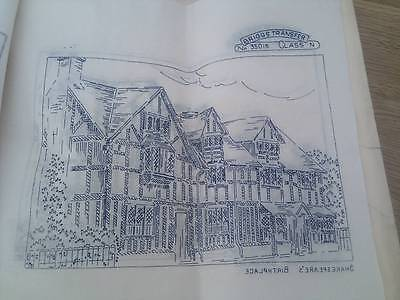 """Vintage Briggs ETCHINGS embroidery Transfer 12"""" x 12"""" - Shakespere's Birthplace"""