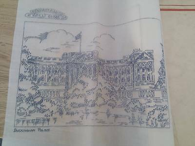 "Vintage Briggs ETCHINGS embroidery Transfer 12"" x 12"" - Buckingham Palace"