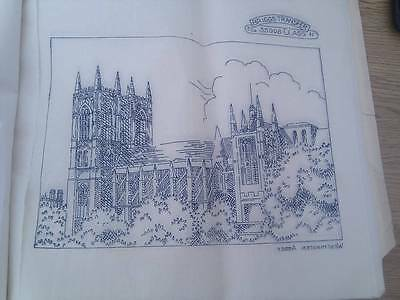 "Vintage Briggs ETCHINGS embroidery Transfer 12"" x 12"" - Westminster Abbey"