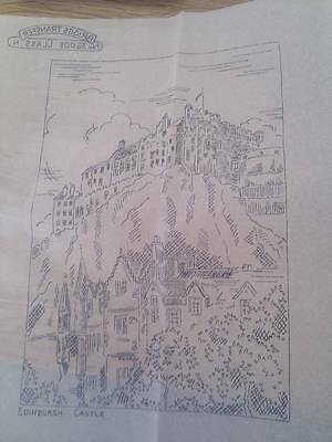 "Vintage Briggs ETCHINGS embroidery Transfer 12"" x 12"" - Edinburgh Castle"