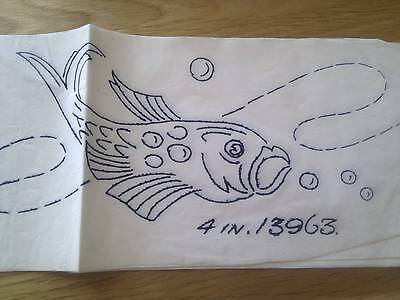"""Vintage BORDER Transfer for Embroidery - FISH - 4"""" wide x 30"""" long"""