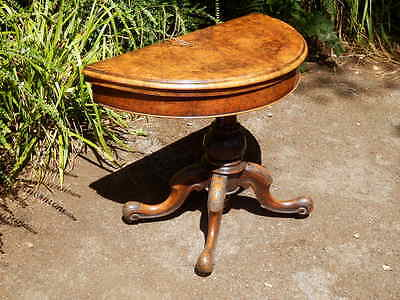 Card, games table. Burr walnut. Console table. Antique. Victorian