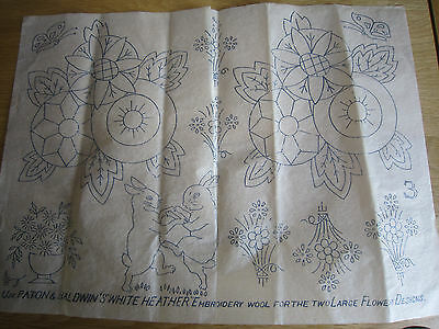 Paton & Baldwin's Vintage WOOL Embroidery Transfer - Boxing Hares & Flowers