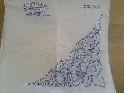 Beautiful Vintage CUTWORK Transfer - ROSES  - Design for tablecloth or runner