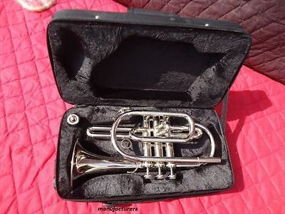 New Cornet Chrome Finish Bb Pitch^nice Look W/case-Mp+Mute Free Fast Shipping