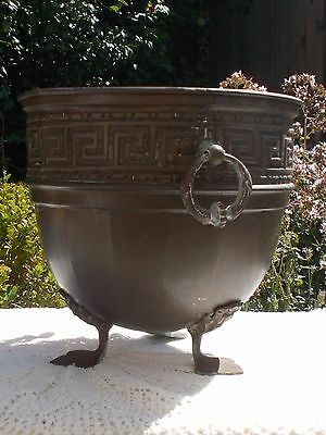 Antique Brass Planter Bronze Metal Footed Embossed  Cache Pot, French Country,
