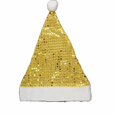 Gold Tone Sequin Detail White Meshy Christmas Santa Claus Hat M8P1