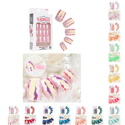 24Pcs Full Nail Mermaid Tips Natural Finger Toe False Fake Art Cover Manicure