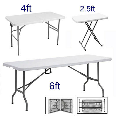 Heavy Duty Folding Portable Trestle Table Plastic Picnic Camping Bbq Garden