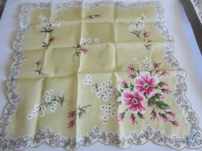 """Vintage Floral Multi-Colour Handkerchief Yellow, White, Red, Green & Gold 15"""""""