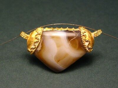 ANCIENT GOLD & AGATE PENDANT 2nd - 1st MILLENNIUM BC