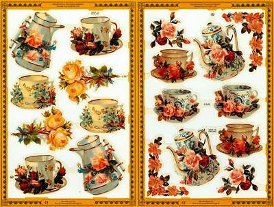Mamelok Golden Victorian Scraps - Die Cuts - A167 / A168,  Coffee and Tea Time