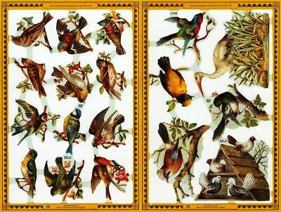 Mamelok Golden Victorian Scraps - Die Cut Reliefs - A109 / A110, Aviary of Birds