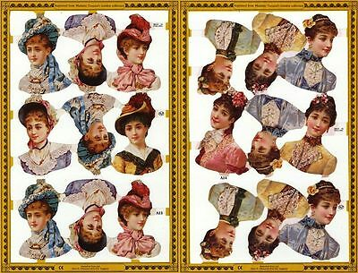 Mamelok Golden Victorian Scraps - Die Cut Reliefs - A13 / A14, Pretty Ladies