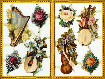Mamelok Golden Victorian Scraps - A76 / A77, Flowers and Stringed Instruments