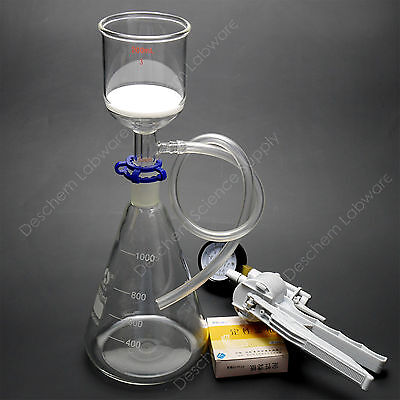 1000ml,Lab Suction Apparatus,200ml Funnel,1L Flask,W/Vacuum Pump & Filter Paper