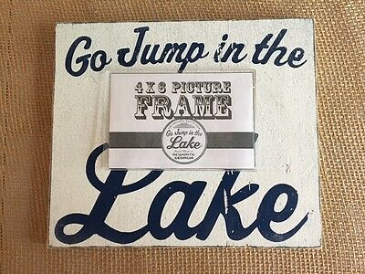 223j Go Jump In The Lake Rustic Wooden Frame Size 9 X 11 Holds