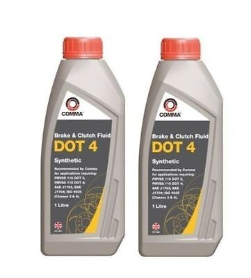 2 x COMMA - Dot 4 Synthetic Brake And Clutch Fluid 1 Litre - BF41L