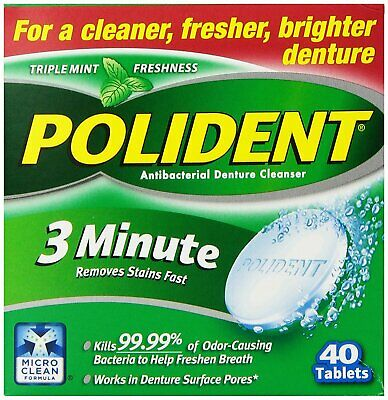 Polident 3 Minute Triple Mint Denture Cleanser Tablets - 40 Count (Pack Of 6)