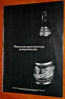 1972 Black Bottle Scotch Whiskey Canadian Ad - 1970S Vintage 70S