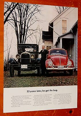 1963 Volkswagen Beetle Ad With 1930 Ford Model A + Life Magazine Cover On Back