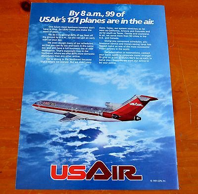 Awesome 1984 U.s. Air Retro Airline Ad With Boeing 727 Jetliner Airplane