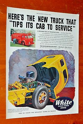 1949 White 3000 Coe Cabover Truck Vintage Ad - American Trucking 1940S