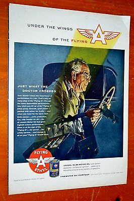 1956 Veedol Flying A Ethyl Gas With Doctor Driving Ad - American Fifties 50S