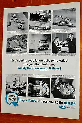 1964 Comet Galaxie Marauder Stock Cars Ford Pickup - Quality Care Ad / Vintage