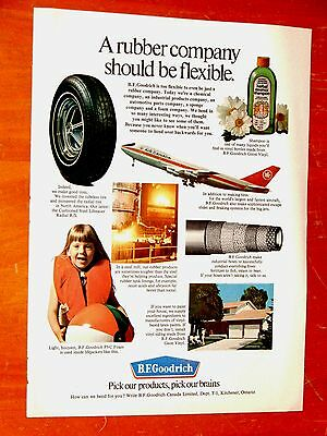 Canadian 1972 Bf Goodrich Ad With Radial Tire Air Canada Jet Home Steel Mill