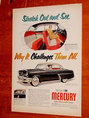 Black 1952 Mercury Monterey Coupe Cool Vintage Ad - Classic 50S American Fifties
