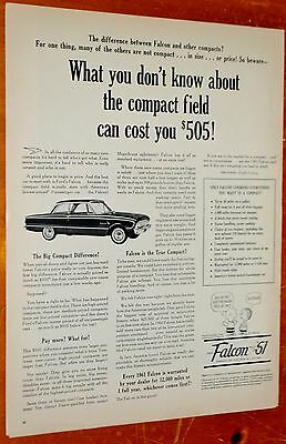 1961 Ford Falcon Ad Compared To Other Economy Cars / Vintage 60S American