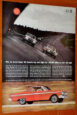 1964 Mercury Comet Coupe & Stock Cars Racing Ad + Western Electric On Back