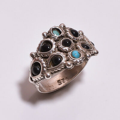 925 Solid Sterling Silver Setted Ring Multi Color Handmade (BDCH)