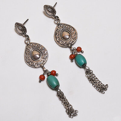 925 Sterling Solid Silver Dangling Earrings Natural Turquoise,Coral (BAAB)