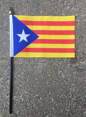 "CATALAN INDEPENDENCE SMALL HAND WAVING FLAG 6""X4"" flags BLAVA ESTELADA SPAIN"