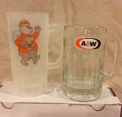 Lot - A&W Rooty the Great Root Bear Plastic Super 22 Mug & Heavy Glass Soda Mug