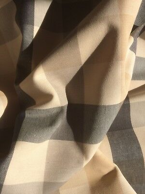 Laura Ashley Mitford Check Fabric - Charcoal / Biscuit - 1m (More Avail)
