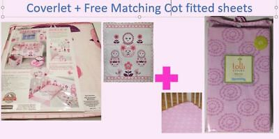 Living Textiles Baby Coverlet + Free Matching Surina cot fitted sheets