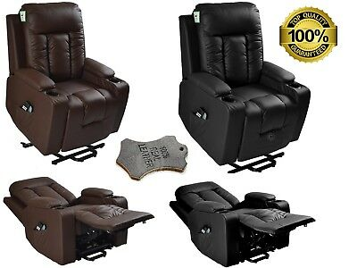Leather Riser Recliner Electric Armchair With Heat & Massage Mobility Lift Chair