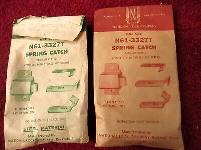Lot 2 Vtg '50s National Lock N61-3327T Spring Catch NOS  CADMIUM PLATED